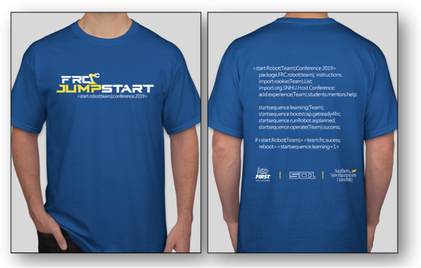FRC Jumpstart Shirt. The front has the FRC Jumpstart blue and yellow logo of a robot arm. The back has a mock code sequence of rookie start-up and the logos for SNHU, NEFIRST, and 501.